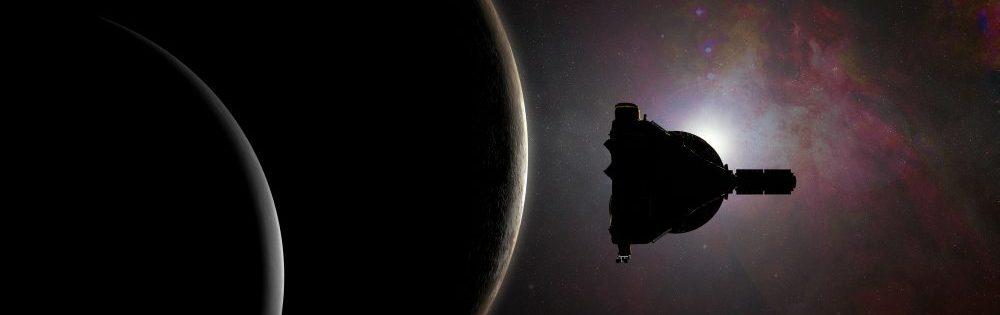 Das Bild zeigt zwei dunkle Planeten und eine Maschine. Die Objekte sind nur noch durch den helleren Galaxie-Hintergrund erkennbar.